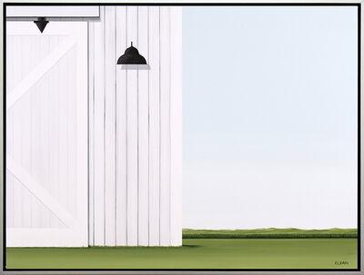 F. Lipari, 'Entrenched - minimalist, serene white, green, realist barn scene, acrylic canvas', 2020