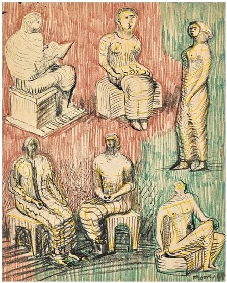 Henry Moore, 'Standing and Seated Figures', 1948