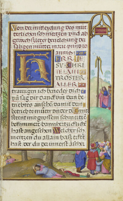 Simon Bening, 'Border with Moses and the Brazen Serpent', 1525-1530
