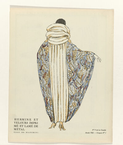 'No. 9: Hermine et velours imprimé et lamé de métal / Tissu de Bianchini (No.9: Hermine and printed velvet and lamé metal/fabric Bianchini)', 1922