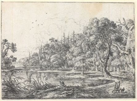 Jonas Umbach, 'A Woodland Pond with a Hunter'