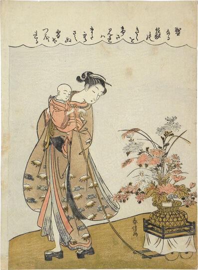 Suzuki Harunobu, 'Young Beauty Carrying a Child Pulling a Flower Cart', ca. 1770