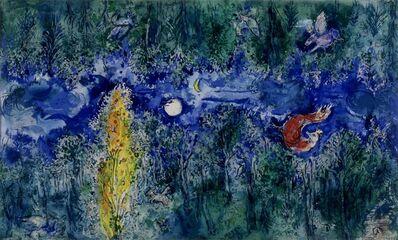 """Marc Chagall, 'Model for the curtain in the first act of """"The Firebird"""" by Stravinsky: The Enchanted Forest (Maquette pour le rideau de scène du 1er acte de """"L'Oiseau de feu"""" de Stravinsky: La forêt enchantée)', 1945"""