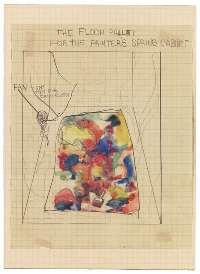 Jim Dine, 'Plan for Environment at Martha Jackson Gallery - FLR Pallet for Painter's Spring Cabinet', 1961