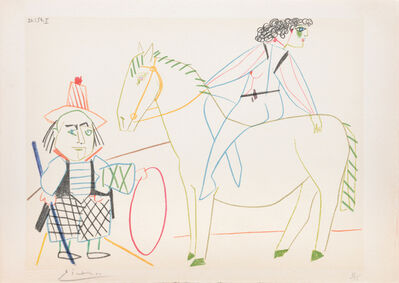 Pablo Picasso, '(Ringmaster with Horse and Rider.) Untitled from Suite de 15 dessins de Picasso. ', 1954