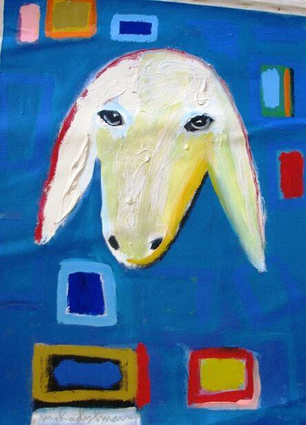 Menashe Kadishman, 'Sheep Portrait in Blue'