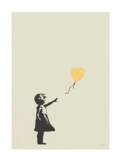 Banksy, 'Girl with Balloon Colour AP (Gold) (Signed)', 2004