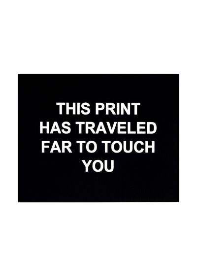 Laure Prouvost, 'This print has traveled far to touch you ', 2016