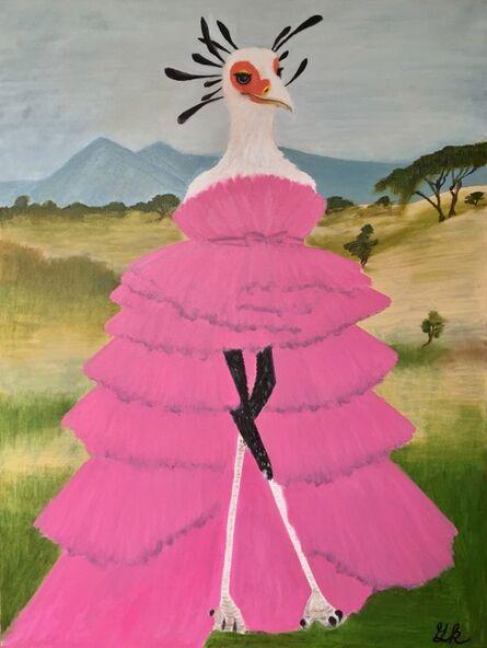 Gemma Kahng, 'secretary bird wearing pink gown', 2020