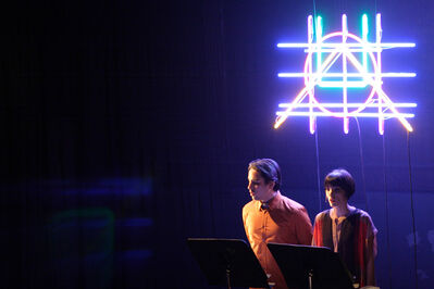 """Robert Ashley and Alex Waterman, 'Performance of El Parque, """"Vidas Perfectas"""". Pictured: Abraham Gomez-Delgado and Elisa Santiago'"""