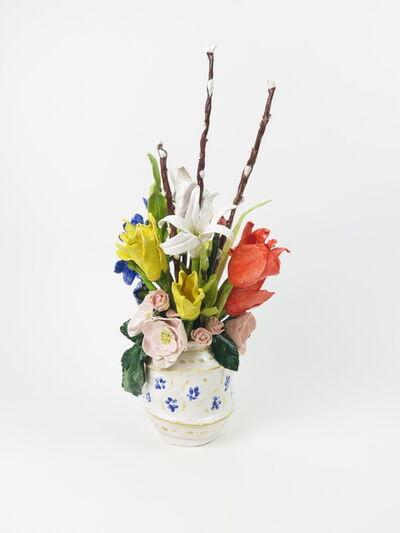 Rose Eken, 'Flower Arrangement In White And Blue Vase', 2017