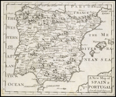 Patrick Gordon, 'A new map of Spain and Portugal, from the latest observations', 1722