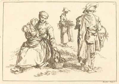 François Boucher after Abraham Bloemaert, 'Seated Mother and Child, Two Standing Peasants', published 1735