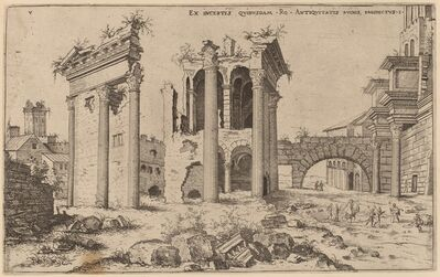 Hieronymus Cock, 'View of the Forum of Nerva', probably 1550