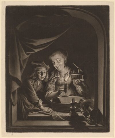 Nicolaas Verkolje after Gerrit Dou, 'Maid with a Mousetrap'