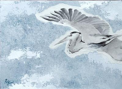 Rin Kuroki, 'Grey heron flying overhead', 2017