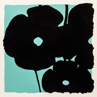 Donald Sultan, 'Reversal Poppies - Aqua and Black', 2015