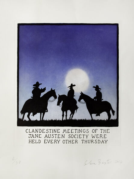Glen Baxter, 'Clandestine Meetings of the Jane Austen Society Were Held Every Other Thursday', 2014