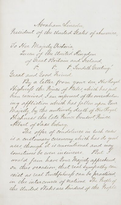 'Letter from President Lincoln to Queen Victoria sending condolences on the death of Prince Albert', dated 1 February 1862