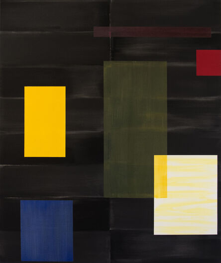 Milly Ristvedt, 'Black - large, yellow, green, blue, geometric abstraction, acrylic on canvas', 2000