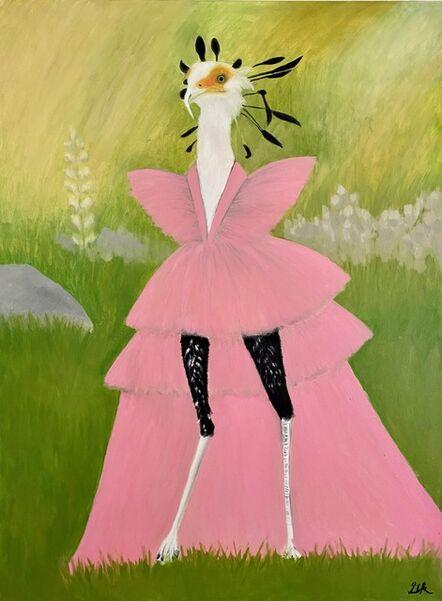 Gemma Kahng, 'secretary bird in peach gown', 2021