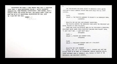 Andy Warhol, 'Two (2) Silkscreens from Flash - JFK Assassination November 22, 1963: silkscreened text on paper plus silkscreen colophon , hand signed and numbered by Andy Warhol ( FS II.41) ', 1968