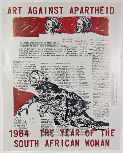 Nancy Spero, 'Artists Against Apartheid Poster- signed and dated', 1984