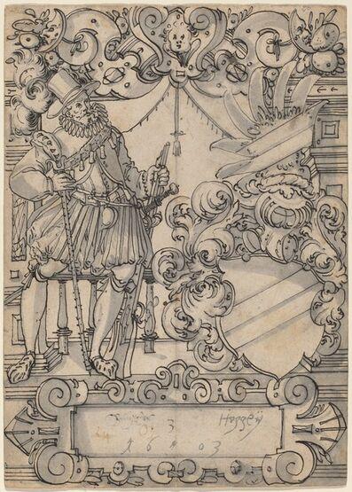 Hans Jegli II, 'A Donor with a Coat of Arms (Schildbegleiter und Wappenschild mit Schrägbalken)', 1603