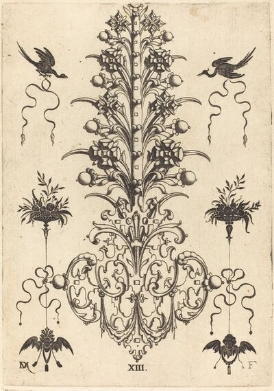 Daniel Mignot, 'Hyacinth-Shaped Brooch with Birds at Top and Devil's- and Angel's-Head at Bottom', 1596