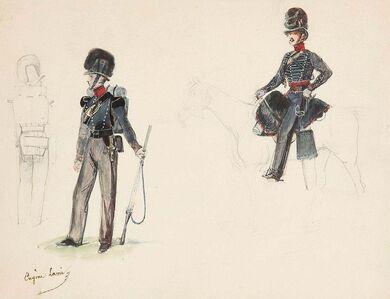 Eugène-Louis Lami, 'Studies of a horseman and soldiers ', ca. 1860