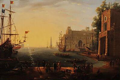 Circle of Claude Gellée, called Claude Lorrain, 'Port with Villa Medici', 17th Century