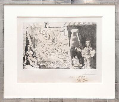 Pablo Picasso, 'Dans l'Atelier: Peintre et sa toile avec un modèle assis. (In the Studio: Painter and his canvas with a seated model.)', 1965