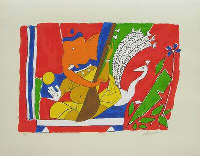 M. F. Husain, 'Ganesh with peacock', 1998