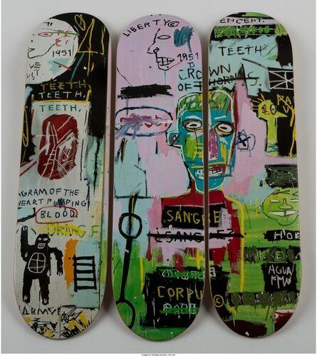 Jean-Michel Basquiat, 'Skateboard Triptych in Italian', 2014