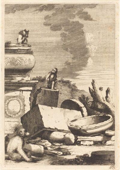 Bernhard Zaech after Jonas Umbach, 'Ruins with Monkeys and an Owl', ca. 1650