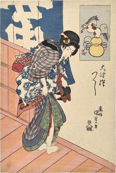 Utagawa Toyokuni III (Utagawa Kunisada), 'Collection of Otsu-e: Chokaro's Horse', ca. 1827