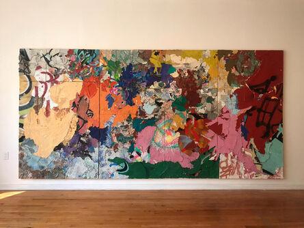 Franco Arocha, 'Metáfora perdida entre la unión de los paisajes y el robo de sus componentes. Infalible mural, devoción al collage, la pintura no es opinion', 2018