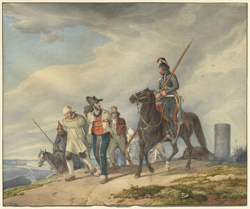 Peter von Hess, 'Three Armed Riders Escorting Prisoners near Reims', 1825