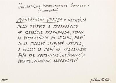 Július Koller, 'Untitled (Avantgarde)', 1975