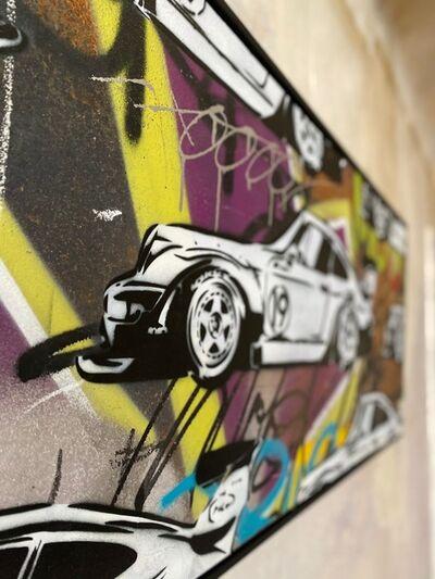 XOOOOX, 'Toyboy (Porsche Longus) Streetart Unique Stencil on Corten Steel.', 2019