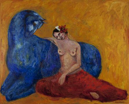 Yalda Sepahpour, 'Woman with Blue Horse', 2017