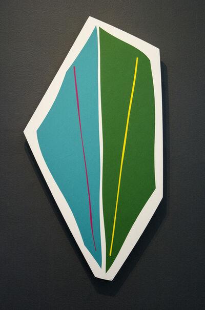 Aron Hill, 'Aqua & Green Shape - playful, colourful, gold leaf edge, acrylic on shaped panel', 2017