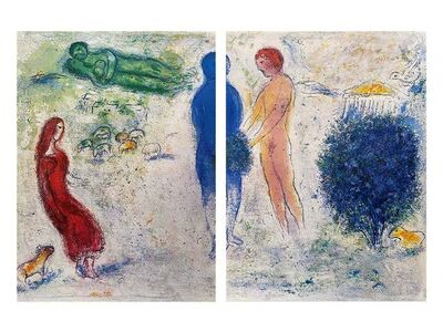 """Marc Chagall, '""""The Judgement of Chloé (Le jugement de Chloé),"""" from Daphnis et Chloé (Cramer 46; Mourlot 315)', 1977"""
