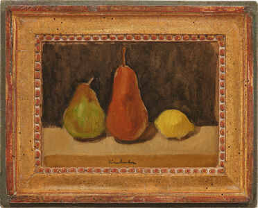 Robert Kulicke, 'Two Pears and a Lemon on a Brown Surface against a Black Background', n.d.
