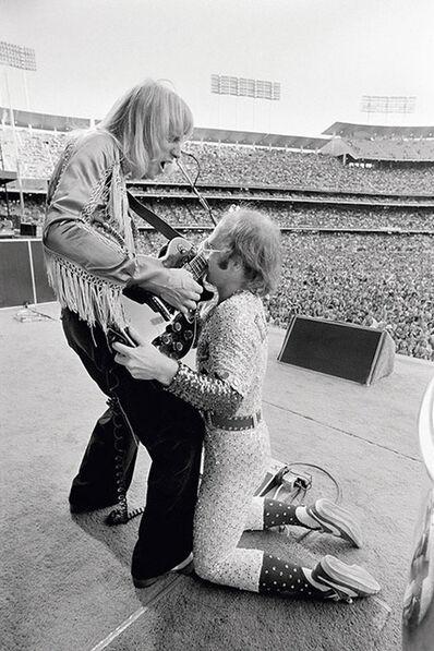 Terry O'Neill, 'Elton John Dodger Stadium, with guitarist Davey Johnstone', 1975
