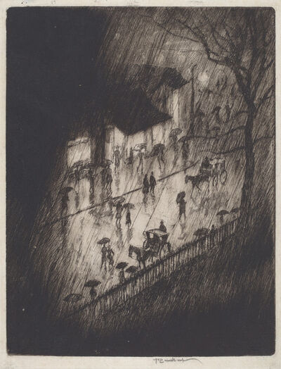 Joseph Pennell, 'Rainy Night, Charing Cross Shops', 1903