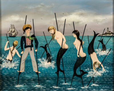 Ralph Eugene Cahoon, Jr., 'Sailor and Mermaids on Stilts'