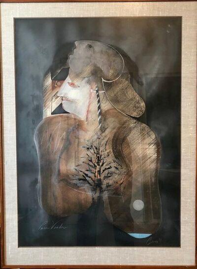 Michael Bowen, 'Para Varda Large Mystical San Francisco Gouache Painting Beat Visionary Artist', 20th Century