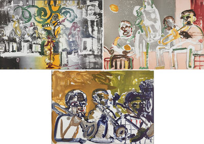 Romare Bearden, 'Three works from Jazz Series: Introduction for a Blues Queen (Uptown at Savoy), Tenor Sermon and Brass Section (Jamming at Mintons)'