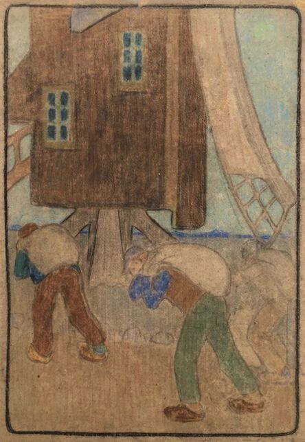 Bror Julius Olsson Nordfeldt, 'WINDMILL AND WORKERS (Large Pastel)', ca. 1900